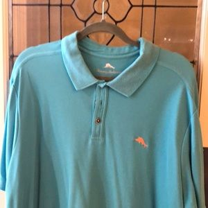 Tommy Bahama teal blue polo shirt